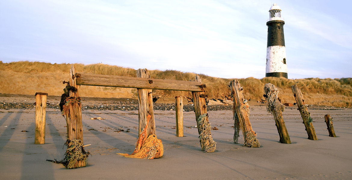 Old wooden groynes on the beach - part of the sea defences at Spurn Point