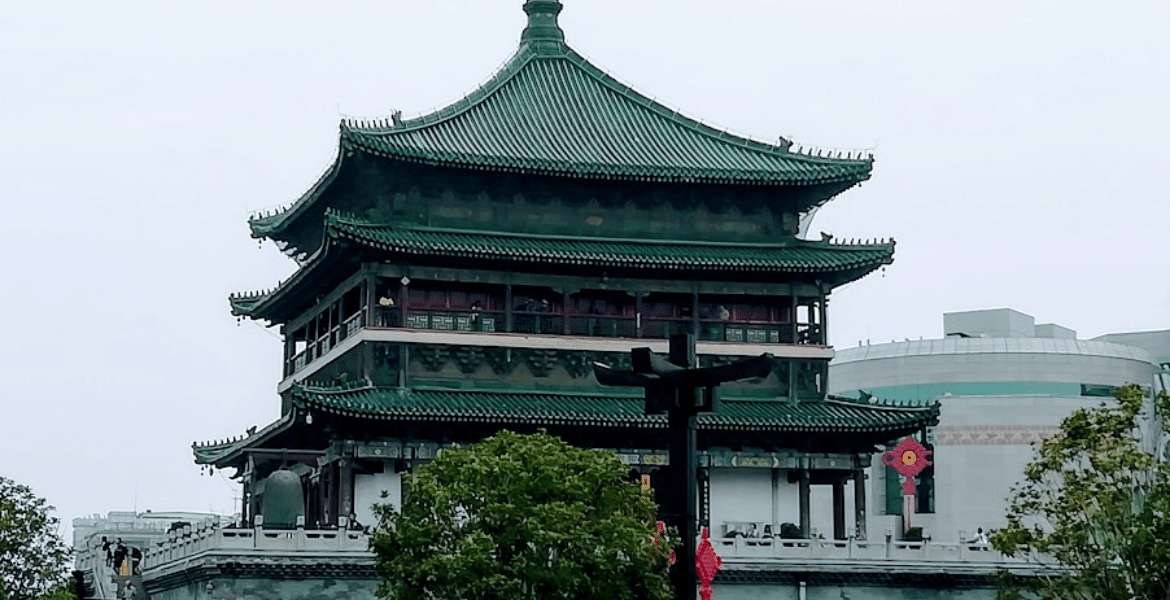 The stunning Bell Tower, Xi'an, with green tiles roof