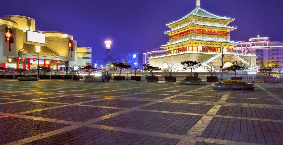 The ancient Bell Tower at night. One of the most iconic Xi'an landmarks