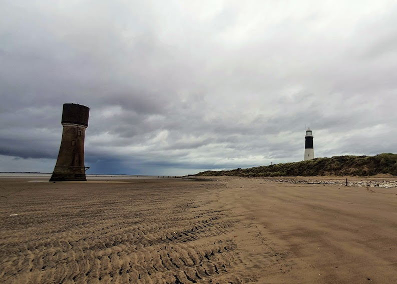View of the abandoned high and low lighthouse at Spurn point