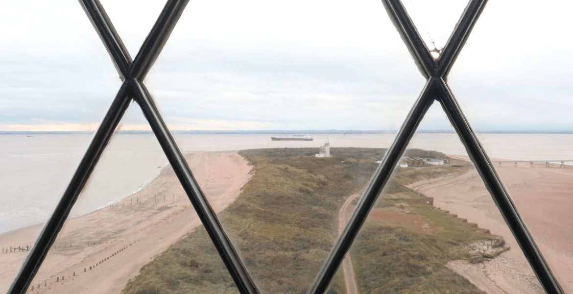 View to the end of Spurn Head from the top of the lighthouse