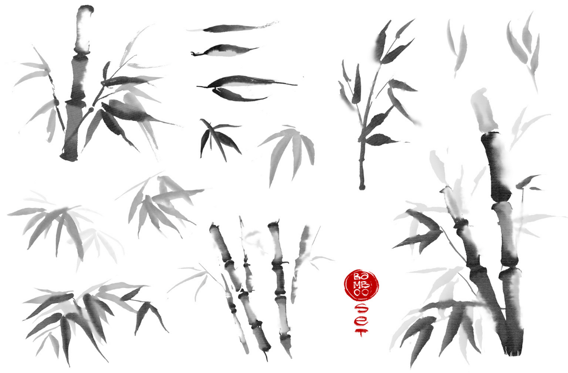 Bamboo from a Chinese Brush Painting Lesson - decorated with a red Chinese Chop (Seal)
