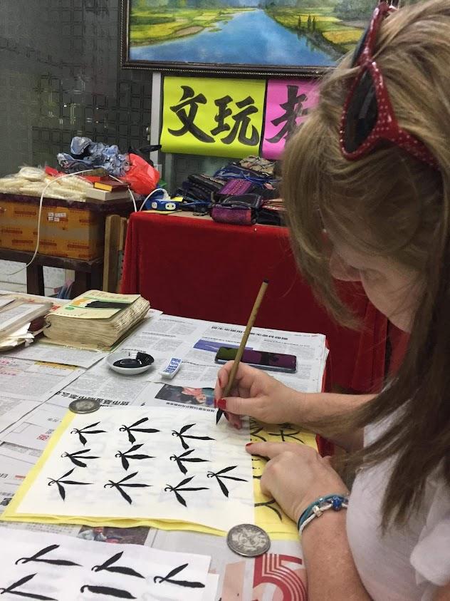 Chinese brush painting lesson in Yangshuo China