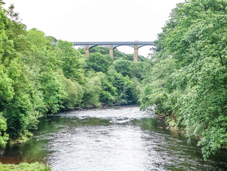 View upstream of Pontcysyllte Aqueduct from the old bridge